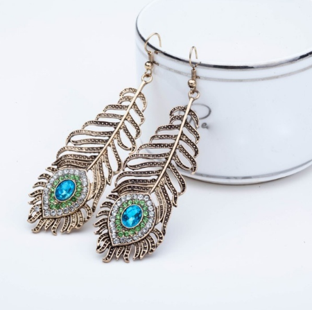 Vintage Bronze Earrings Rhinestone Peacock Eye Feather Shape Hook Earrings (Size: One Size, Color: Antique bronze)