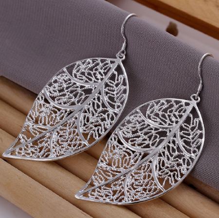 Free Elegant Fashion Jewelry Silver Plated Stud Dangle Earings Eardrop Skeleton Big Leaf
