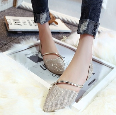 New Summer Metal Bandage Women's Fashion Shoes Flat 4 Colors