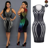 Women Fashion Gradient Printing Slim Waist Sexy Lady Club Sleeveless Hip Dress