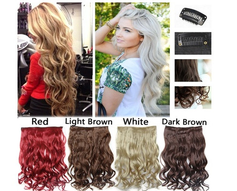 "New Fashion Long Curly 24"" hair Extentions Clip in hair Extensions real thick synthetic hairpiece Blonde Brown Black red hair"