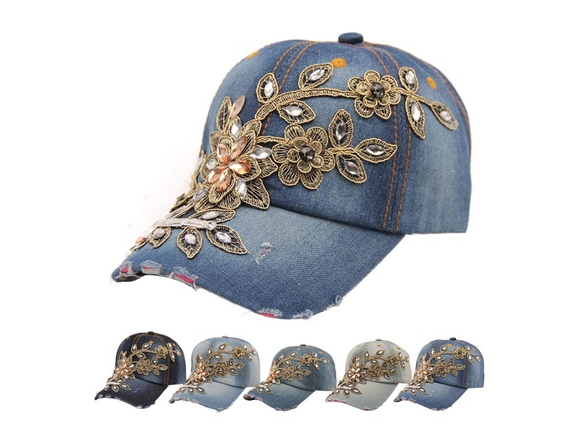 Women Diamond Flower Baseball Cap Summer Lady Jeans Hats Brand New