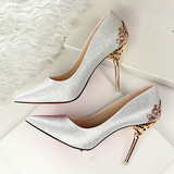 Fashion Sexy High Heels Shoes with Metal Wedding Shoes