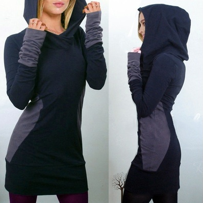 Women Winter Hooded Pullover Sweatshirt Bodycon Hoodie Jumper Dress