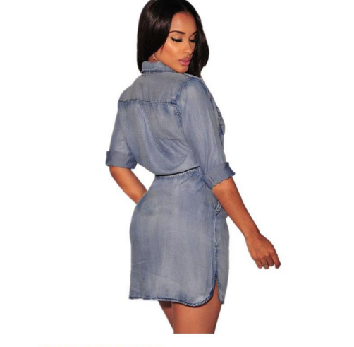 Casual Style Skater Dresses Three Quarter Sleeve Button Down Denim Drawstring Dress Women