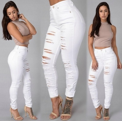 3 Color Woven Cotton Hole Ripped Jeans Leggings Pants