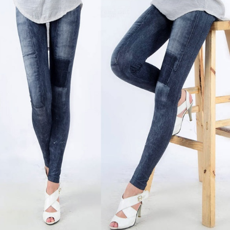 Women's Skinny Denim Stretch Leggings Tights Trousers Jeans Pants Leggings