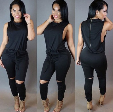 Sexy Women Sleeveless Zipper Drawstring Bodycon Casual Pants Playsuit Jumpsuit