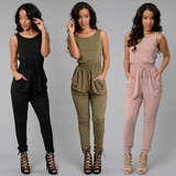 Women Long Jumpsuit O-Neck Sleeveless Loose Rompers Womens Jumpsuit