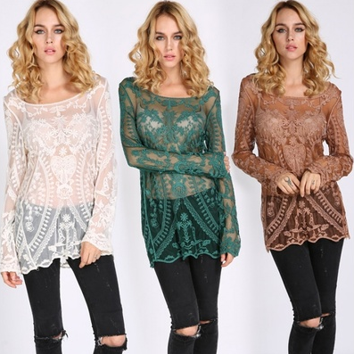 Women Embroidery Shirt Floral Hollow-Out Lace Casual Blouse Green Beige