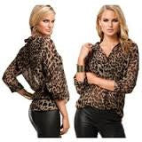 Fashion Design 2015 New Summer Spring V-neck Long Sleeve Leopard Lapel Shirt Sexy shirt