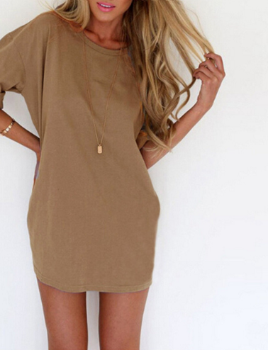 Summer Style Fashion Women Casual Loose Dress Sexy Ladies Short Sleeve Solid Color Mini Dresses Vestidos