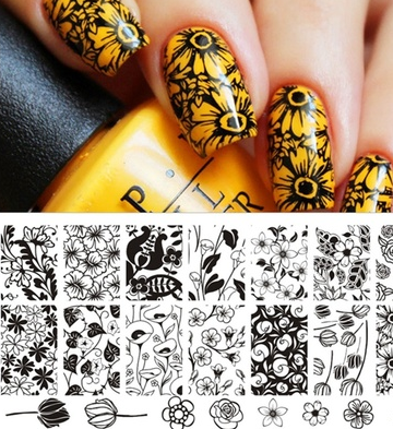 Tulip Pattern Nail Art Stamp Template Rose Image Plate BORN PRETTY 12.5x 6.5cm