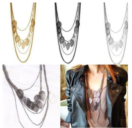 Rero Bohemia Leaf Multilayer Necklace Pendant Womens Long Sweater Charms Chain
