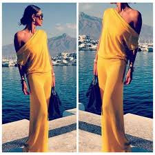 New Autumn Women Dresses Solid Color Cheap Maxi Dress Long Sleeve Asymmetrical Collar One Shoulder Loose Beach Dresses