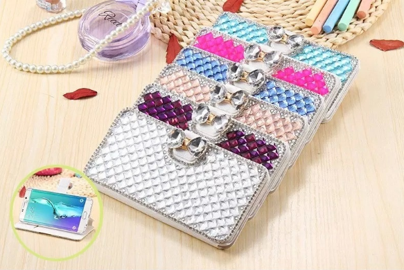 Luxury Wallet Bling Rhinestone Leather Flip Case Cover For Various Samsung Phone Sony HTC