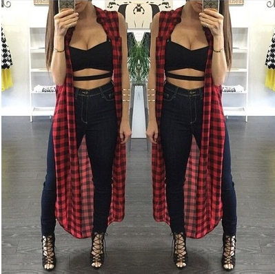 Fashion Women Long Plaid Casual Mini Dress Sleeveless T Shirt Tops Blouse