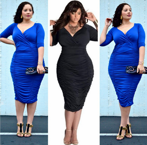 Women Plus Size Leisure Sexy Deep V neck Elegant Dress Hip Dress Solid optional vestidos Evening Party Bodycon Dresses