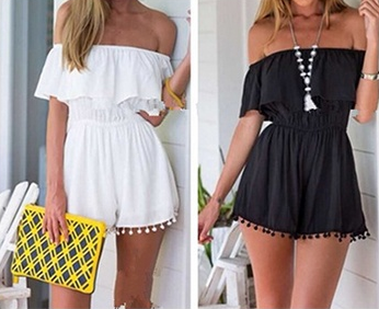 Summer Style Women Romper Off The Shoulder Elastic Waist Ruffles Playsuit Jumpsuit
