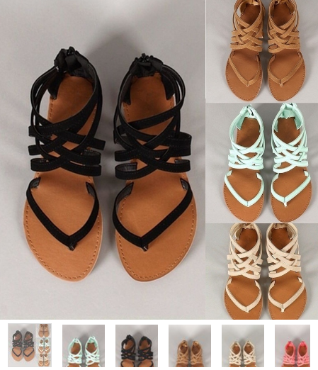 5 Colors Women New Strappy Flat Sandals Summer Bohemian Sandals Casual Shoes