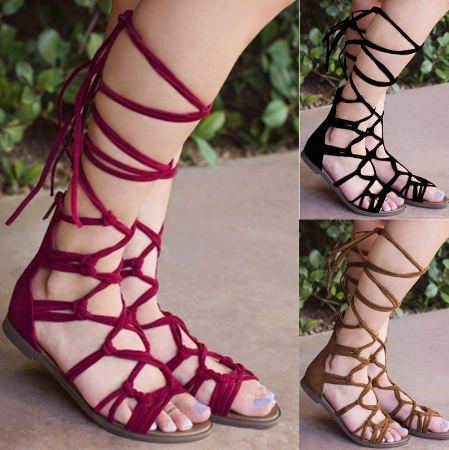 Women Summer Sandals Casual Slip on Lace Up Bohemian High Boots Slippers