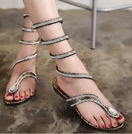 f50b018e5 High Quality Leather Strappy Roman Gladiator Sandals Flat Shoes Summer Flats  Flip Flop