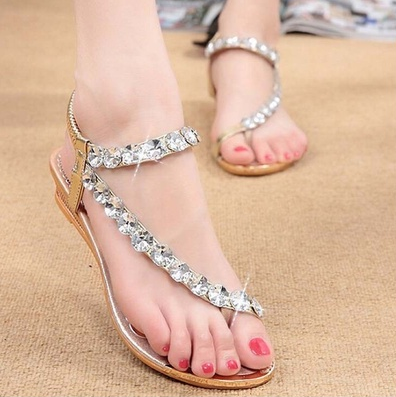Rhinestone Summer Fashion  Women's Shoes Elastic Band