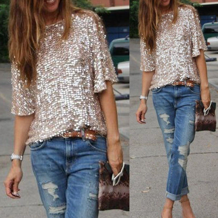 Women Sequins Beads Short Sleeve Loose Casual T-shirt