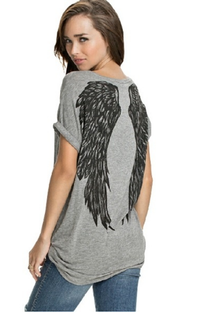 Women Tee Angel Wings Printing Fashion Loose Tops&T-shirt