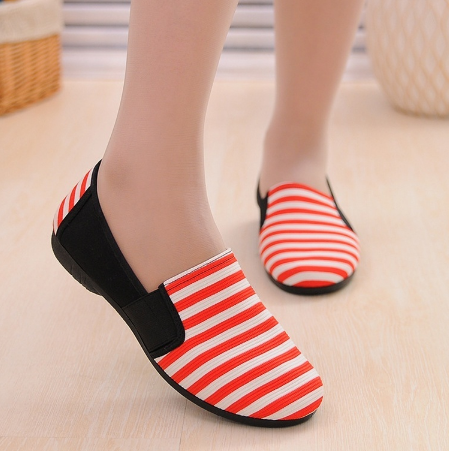 Women's Fashion Casual Striped Canvas Shoes Loafers