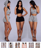 Women Two Piece Outfits Sleeveless Crop Top and Shorts Set