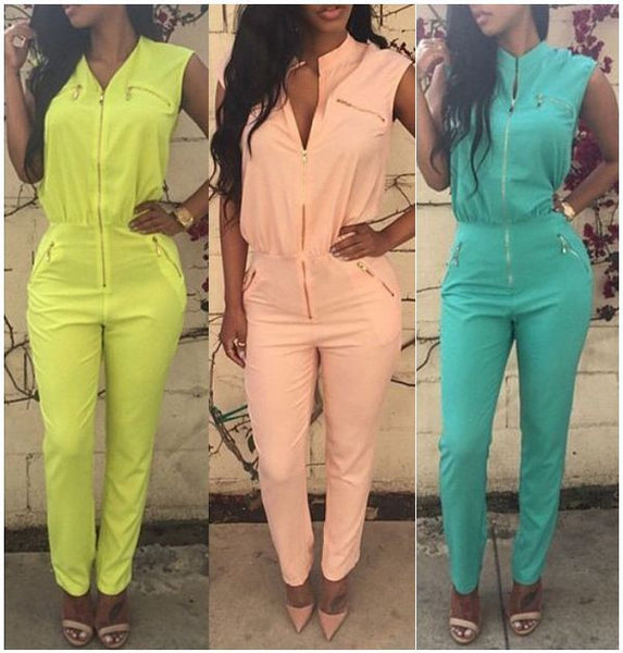 5 Colors Sexy Jumpsuits 2015 New Sleeveless Bodycon Suits Jumpsuit with Zipper Pocket Women Long Pants Romper Overalls for Women