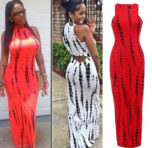 Women Tank Dress Casual vestido Print Lady Summer Sexy Bandage Bodycon Stretch Party Clubwear Long Maxi Dress
