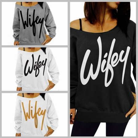 Ladies Letter Printed Long Sleeved Sweatshirt Womens Off Shoulder Jumper Tops Loose Shirt