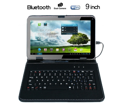 "9"" inch Android 4.4 Tablet PC Allwinner A33 Quad Core 1GB 8GB With Keyboard Case"