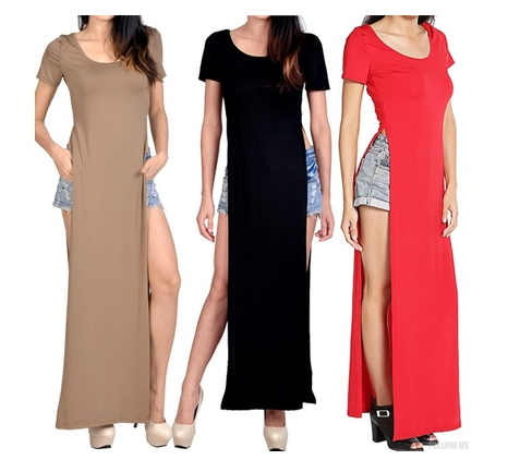 Women's Summer Casual Long T-shirt Short Sleeve Side Split Maxi Dresses