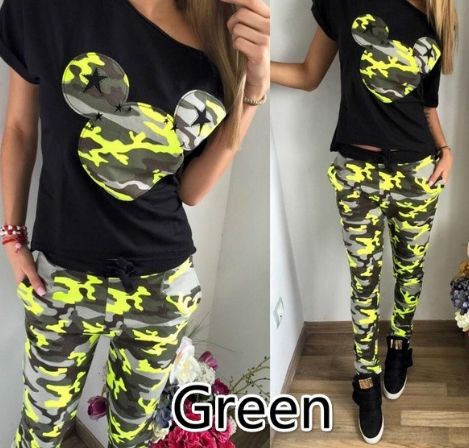 Fashion Two-piece Printed Camouflage Splicing Women Jumpsuit