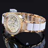 Women's Round Bracelet Watch Ladies Gold Silver Designer Style Crystal