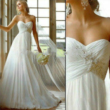 2015 Fashionable Dress White/Ivory A-Line Chiffon Romantic Wedding Dress