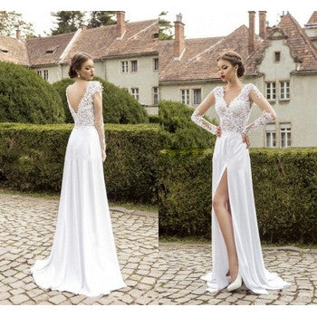 Elegant deep v neck slit white applique chiffon prom dresses full sleeve summer wedding party gown