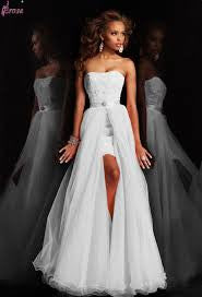 New Design Short Strapless Appliques Pure White Wedding Dress Bridal Gown With Detachable Skirt