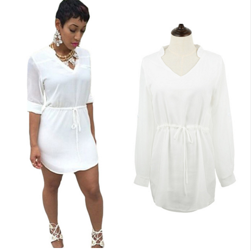 New Fashion Women Chiffon White Dress V Neck Drawstring Waist Asymmetric Hem Long Sleeve Casual Mini Dress Roupas Feminina