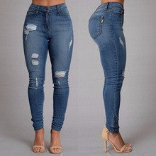 New style autumn fashion jeans Full Length Mid-waist Pencil Pants Zipper Fly skinny causal style