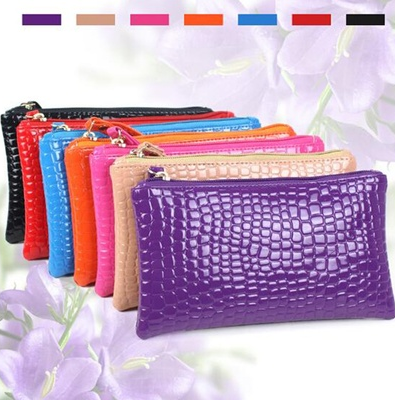 Free Hand bag ladies wallet bag phone bag long crocodile grain purse Coin Purses