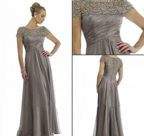 Plus Size Short Sleeve Beaded A Line Chiffon Formal Wedding Party Dress Mum Evening Gown
