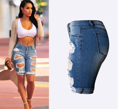Women Elastic Hole Leggings Short Pants Casual Street Style Blue Denim Shorts Ripped Boyfriend Jeans