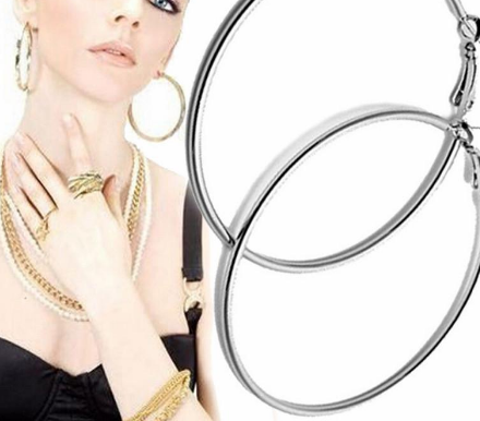 Free Just Pay Shipping -Beautiful Hoop Earrings Alloy Big Smooth Big Ears Clear Circle Round Charm Earrings For Women