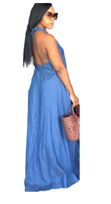 Loose Denim Maxi Dress Women Sexy Club Sleeveless Off Shoulder Backless Lace Up Party Long Halter Dresses
