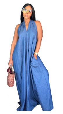 f353be28443 Loose Denim Maxi Dress Women Sexy Club Sleeveless Off Shoulder Backless  Lace Up Party Long Halter Dresses