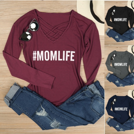 Women Mom Life Criss - Cross Letters Printing Long Sleeve T-shirt Top